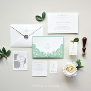 Mint Grey Laser Cut Wedding Invitation